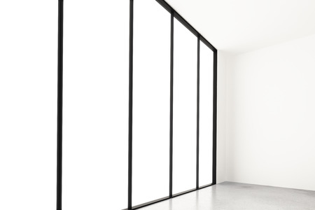 glass ceiling: White window in empty room