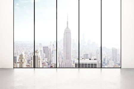 interior: Blank white room with city view Stock Photo