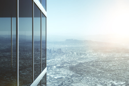 exterior wall: Modern glass office building and view to city Stock Photo