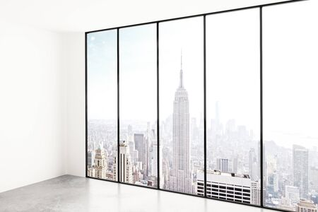 window view: Blank white room with city view Stock Photo