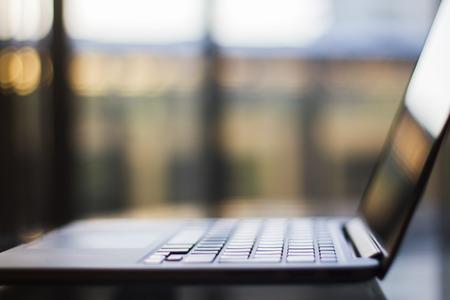 field depth: Laptop, shallow depth of field Stock Photo