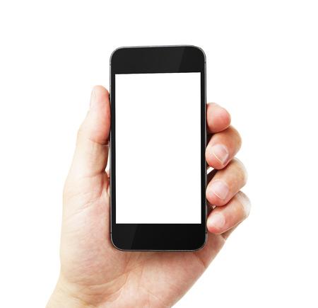 白い背景の空の携帯電話を持つ手します。