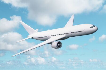 away travel: big white airplane in blue sky Stock Photo