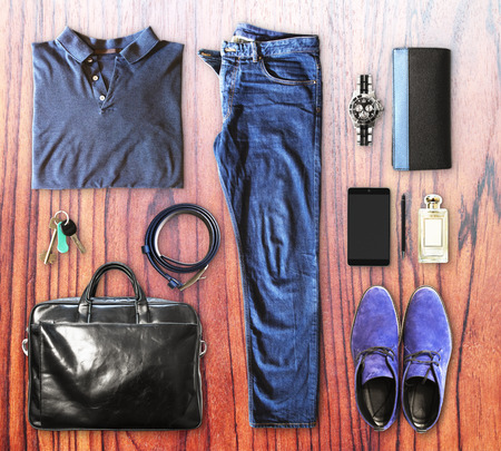 men's clothing: set of mens clothing and accessories on a brown wooden background