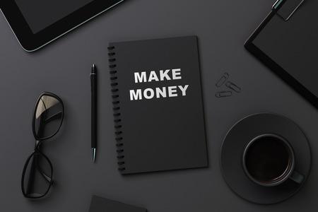 nobody: black notebook for recording make money Stock Photo