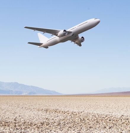 away travel: White plane takes off in the blue sky