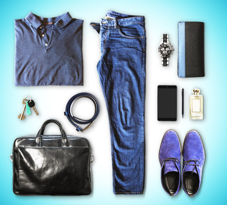 men's clothing: set of mens clothing and accessories on a blue background
