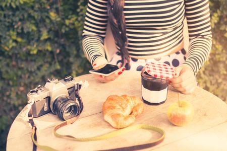 morning breakfast: girl traveler in the morning breakfast