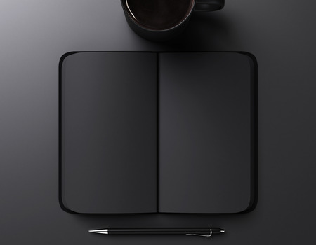 notebook: black blank notebook, pen and cup of coffee, mock up