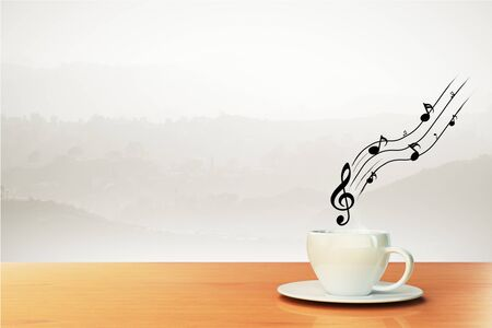 vintage music background: cup of coffee and musical notes, concept
