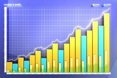 growth chart: illustration of the financial graph on a blue background