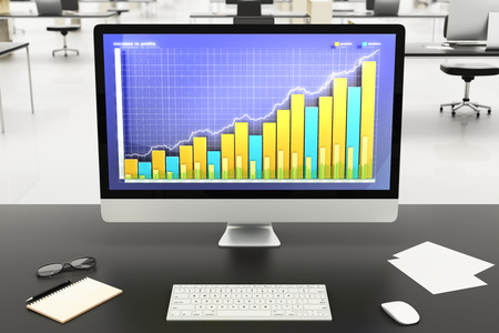financial graph: illustration Financial graph on computer monitor
