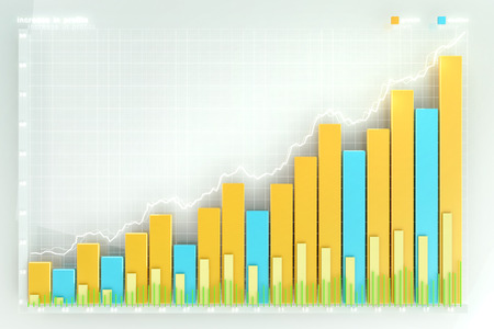 chart graph: illustration of the financial graph on a white background Stock Photo