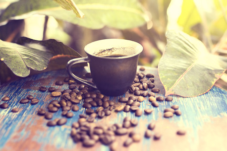 old desk: coffee beans on the old desk outdoors