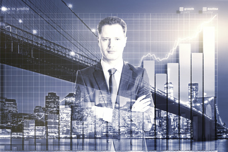 business analysis: Double exposure with businessman and business chart