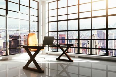 office window view: Contemporary workplace in a loft interior