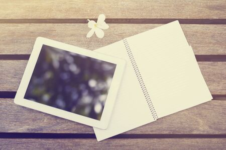 blank tablet: Blank digital tablet and diary Stock Photo
