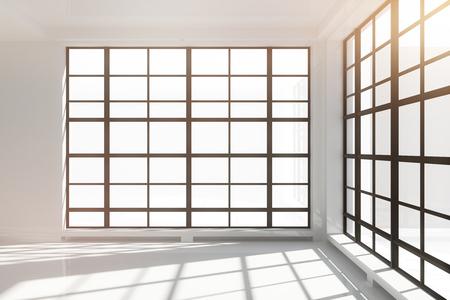 windows: Empty white loft interior with floor-to-ceiling windows