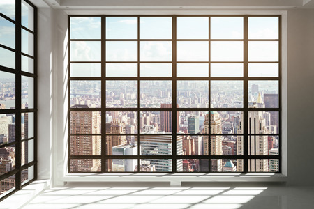 ceiling: Floor-to-ceiling windows with city view