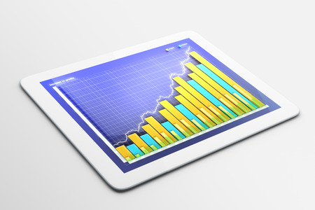 tablet: Tablet with business chart Stock Photo