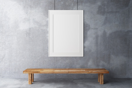 black and white frame: Blank frame in the gallery on a concrete wall Stock Photo