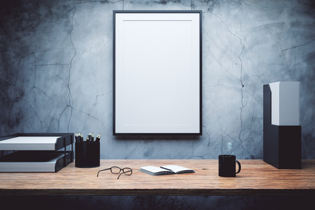 journal: mock up of empty picture frame on the desk Stock Photo