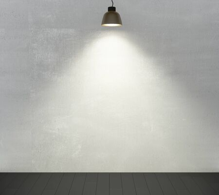 Empty concrete wall with light bulb