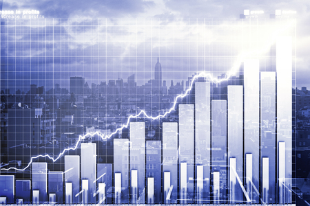 consultancy: Double explosure with business chart and city view Stock Photo