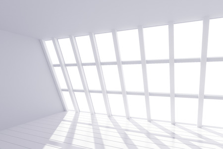 glass house: Sunny white loft interior Stock Photo