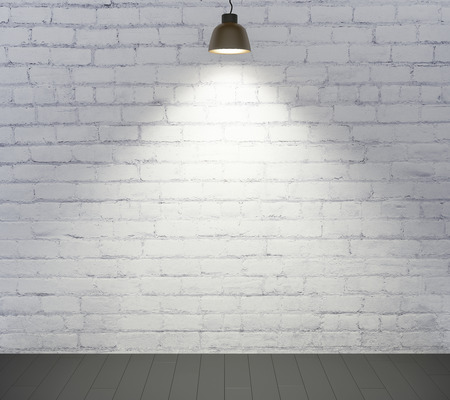 plafond: Brick wall, wooden floor and the light