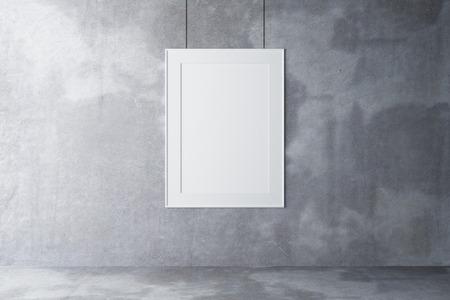 Lege omlijsting op een betonnen muur en betonnen vloer, mock up