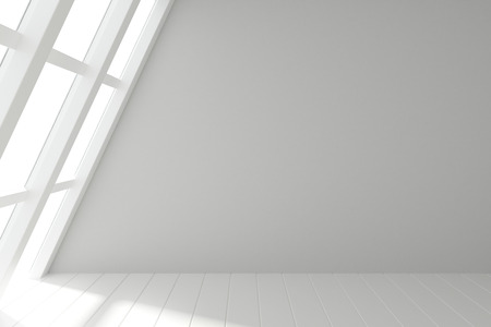 Modern light room with windows in floor and wooden white floor