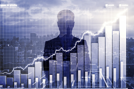 stock market chart: Double explosure with business chart and businessman silhouette Stock Photo