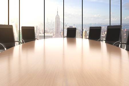Conference room with big round table, chairs and city view Stock Photo