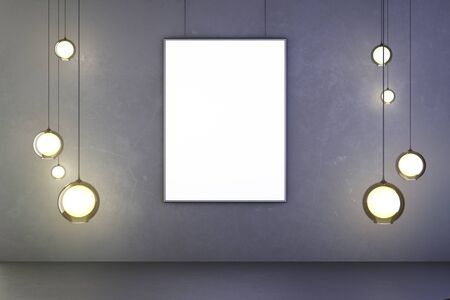 lightbulb: Lightbulbs and blank picture frame on the wall, mock up