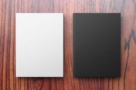 나무 테이블에 흰색과 검정색 책, 최대 모의 스톡 콘텐츠
