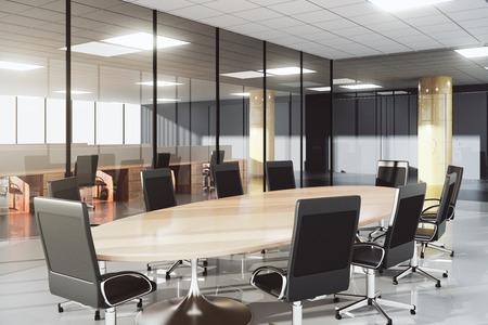 Moderne conferentieruimte in een zonnige kantoor Stockfoto