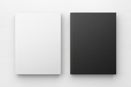白と黒の本をモックアップします。 写真素材