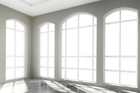 White light big room with concrete floor