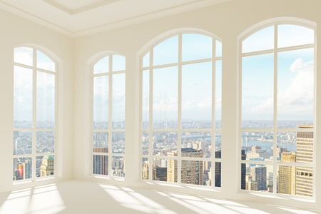 Big light modern room with city view