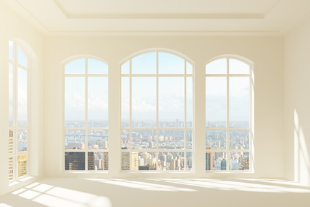 Modern light interior with city view