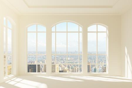 Modern licht interieur met uitzicht op de stad