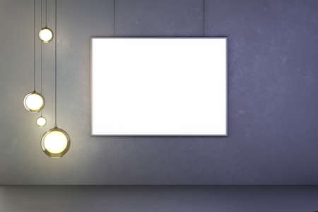 picture: Lightbulbs and blank picture on the wall, mock up