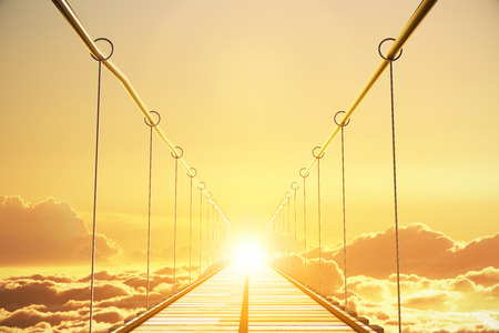 stairway to heaven: Wooden bridge in the clouds going to sunset, concept Stock Photo