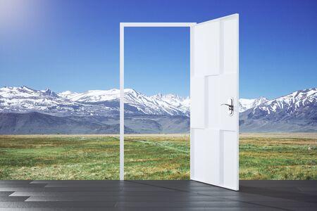 parallel world: Open door in a nature, concept Stock Photo