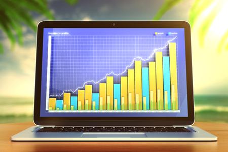 ノート パソコンのモニターの上にビジネス グラフ
