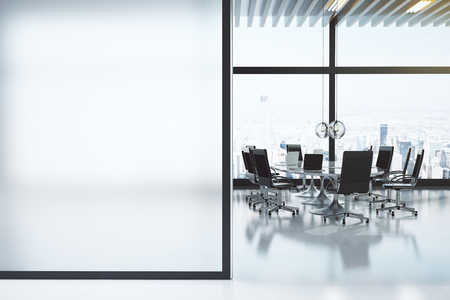 Modern white meeting room with copyspace