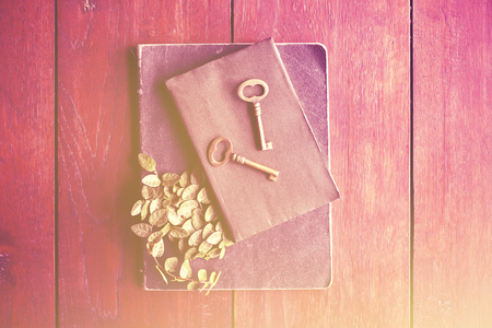 Old diary and keys, vintage color effect