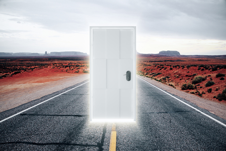 parallel world: Door on the road to a parallel world with a glow