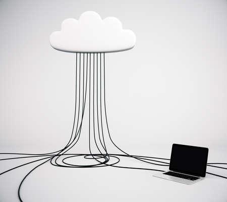 cloud service: Cloud Service concept with laptop Stock Photo